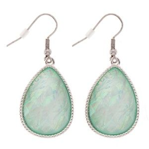 Jewelry - 🆕 Silver & Aqua Opal Teardrop Dangle Earrings
